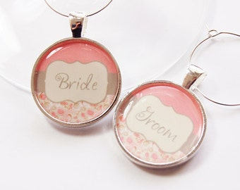 Wedding Wine Charms, Bride Groom Charms, Wine Charms, Wedding Shower, Bridal Shower, table setting, silver plate (2749)