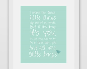 Little Things One Direction Lyrics Print #1 Minty Green