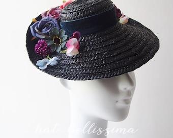 SALE black 1940's Vintage Style straw hat Tilt Hat Summer hat Derby Hat  formal hats hatbellissima ladies' and misses' hats millinery