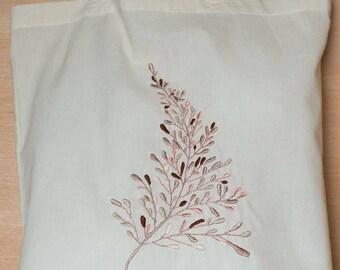 Rose Gold Botanical Sprig Hand Embroidered Tote Bag