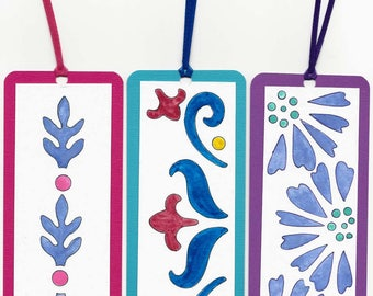 Three Original Hand Painted Water Color Book Markers - Book Marks - Pastel Colors - Not a Print