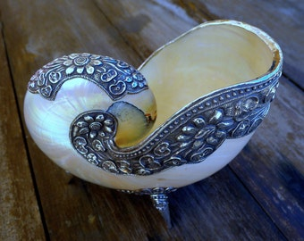 Sterling Silver Nautilus Shell Artisan Crafted via Chasing and Repousse