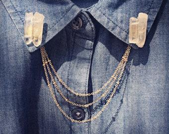 quart collar pins, crystal collar chains, crystal brooch, crystal pin, crystal jewelry, healing crystals, collar brooch, brooch with chains