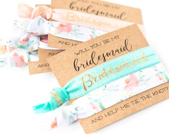 Bridal Party Proposal Gift | Will You Be My Matron of Honor Hair Tie Gift Card | Bridesmaid Proposal, White Gold Peach Mint Floral Hair Ties
