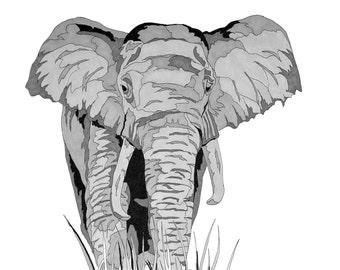 Black and White Illustration / 11 x 17 IN. Print / Animal / Wildlife / Elephant