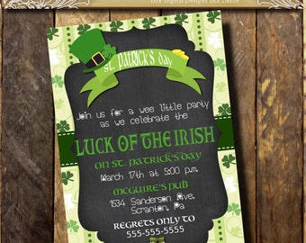 St. Patrick's day Invitation/Chalkboard Invitation/Shamrock Invitation/St. Patty's day invitation/Luck of the Irish/ Four Leaf Clover/ Green