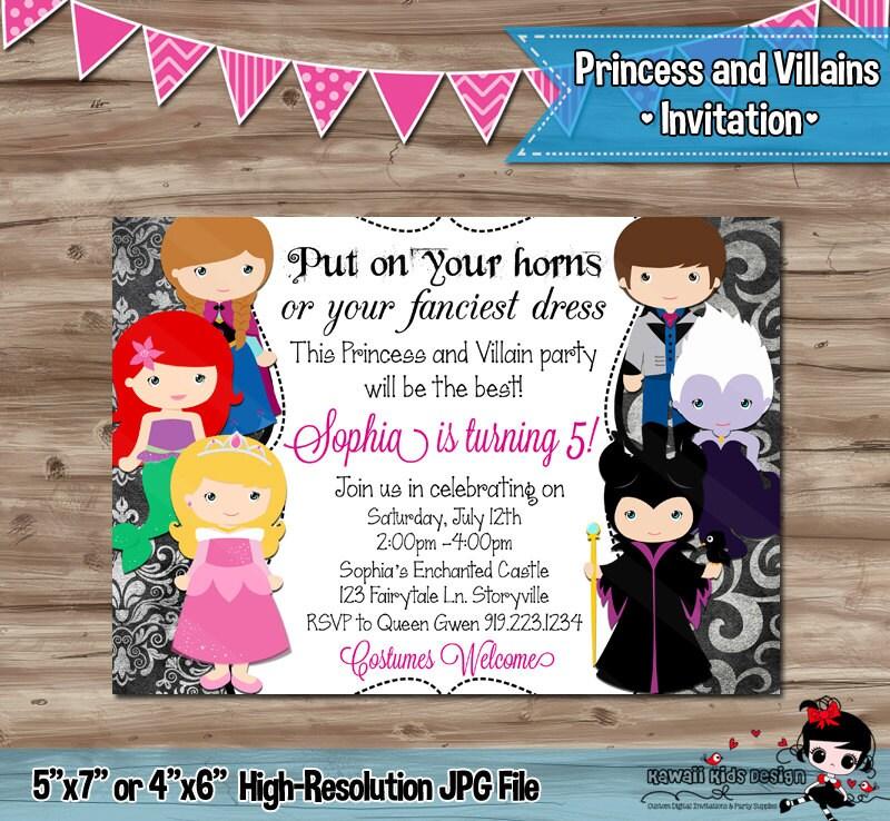 PRINCESS and VILLAINS Birthday Invitation Disney Princess and