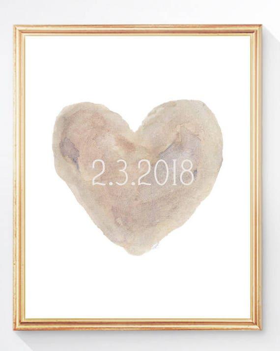 Natural Wedding Decor, Wedding Date Print in 8x10
