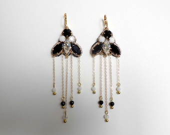 Embroidered black and white crystal earrings
