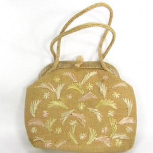 Vintage purse, wicker purse, straw purse, shoulder purse, 1950 purse,purse