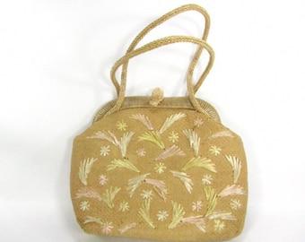 Vintage purse, wicker purse, straw purse, shoulder purse, 1950 purse,purse