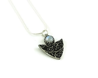 Silver gemstone necklace - Windswept - Sterling Silver and Moonstone