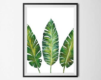 Botanical Leaves Wall Print, Tropical Print, Home Decor, Botanical Wall Print, Plant Leaf Print, Botanical Leaves