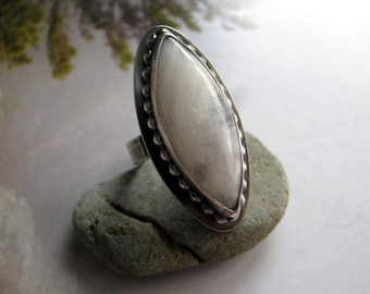 Moonstone Ring, Sterling Silver Moonstone Ring, Statement Ring, Large Sterling Silver Ring