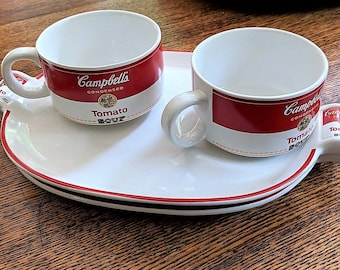 Campbell's Soup Tomato Soup Mug and Plate Snack Set 1994 Westwood 2 Sets Childs Luncheon Set