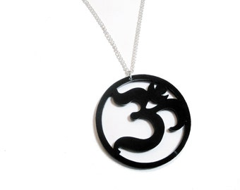 "Large Ohm Pendant Laser Cut Black Acrylic  on 24"" Silver Plated Chain - 2.25 inch Acrylic Om Symbol Necklace"