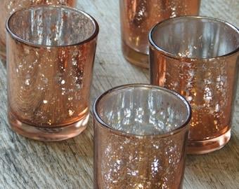 12 Rose Gold Mercury Glass Votive Holders -Copper - Candle Holders for Weddings - Glass Votive Candle Holders - Wedding Decorations