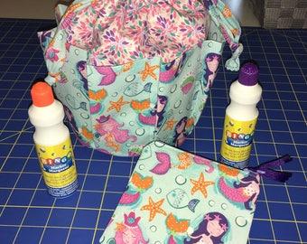 Mother's Day Gift Set, Bingo Bag Set, Mermaid Gift Set, Drawstring Travel Bag & matching money pouch. Zipper coin pouch, 8 pocket bingo bag