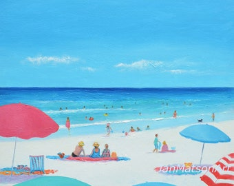Beach decor, Canvas art, Beach Painting, Beach Art, beach artwork, beach scene, coastal art, Beach Umbrellas, seascape, Etsy Art, Jan Matson