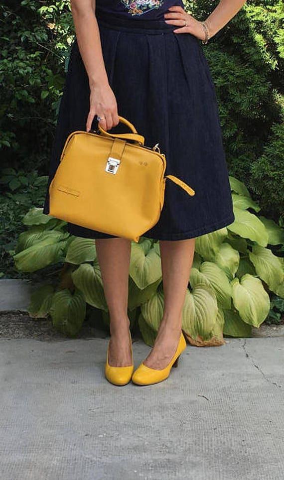 Leather doctor bag, Metal framed doctor bag, Yellow Bag, Yellow Leather Bag, Yellow doctor bag