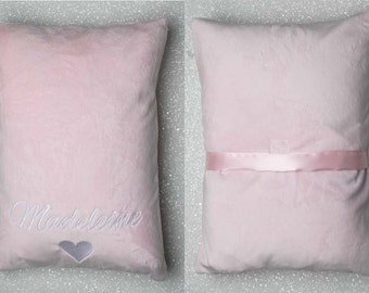 Toddler Pillowcase  WITH  NAME & GRAPHIC, Minky Pillowcase, Daycare Pillow, travel pillow, embroidered animal, personalized soft pillowcase