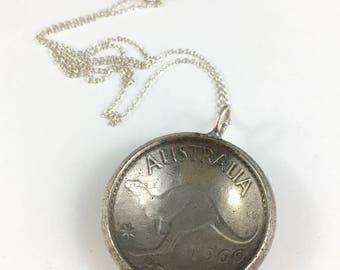 Australia Necklace, Australia Gift, Australia Charm, Australia Woman, Vintage Australia, Australia Souvenir, Spoon Necklace, Spoon Jewelry