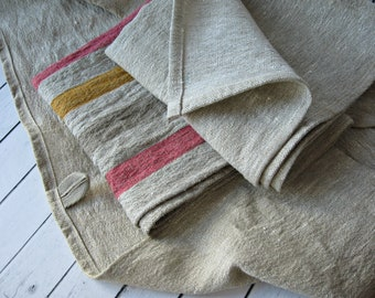 Set of 3 Linen Towels - Rustic kitchen  or hand towels  -Natural Linen Towels -  Thick  Linen towels
