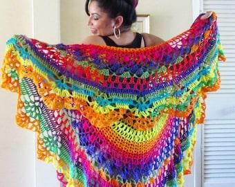 Crochet Rainbow Boho Vest