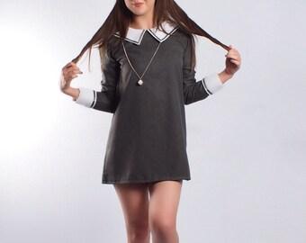 60's inspired grey sailor dress, Peter Pan collar