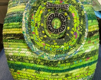 Supersized Circle in a Square Green Coiled Rope Basket