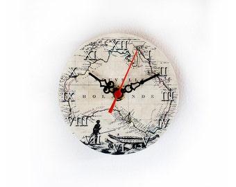 Australia Wooden Clock, Magnetic Clock, Vintage Clock, Little Clock, Small Clock, Worldmap Clock -  5 inch - 12 cm, ohtteam
