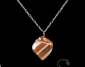 Carnelian Nugget Pendant - copper topped, electroformed, natural carnelian, tumbled, dark orange, white, striped