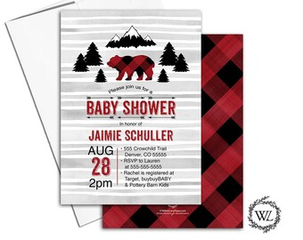 Lumberjack baby shower invitation boys, Christmas baby shower invitation printed, rustic bear baby shower invite mountains arrows - WLP00783