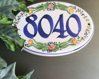 House Number 8040 Ceramic Plaque Street Address Vintage Sign - #R0011