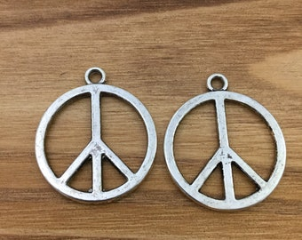 Peace symbol pendant etsy qty 8 peace symbol charms peace pendants peace sign pendants peace charms mozeypictures Image collections