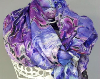 Scarves for women, shawl wrap. All occasion or wedding bridal party.  Abstract Floral Photography.  Shown in Lavender Blue Design.