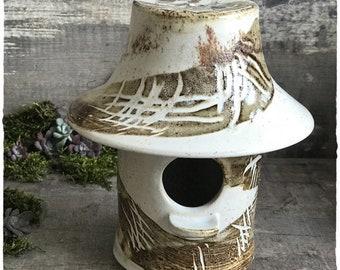 Birdhouse bird ceramic stoneware height 15 cm