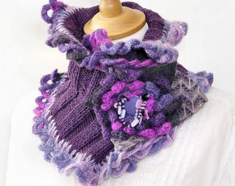 knit capelet knit crochet lace cowl purple tones knit crochet neck cozy neck warmer for her romantic cowl PiaBarileAccessories