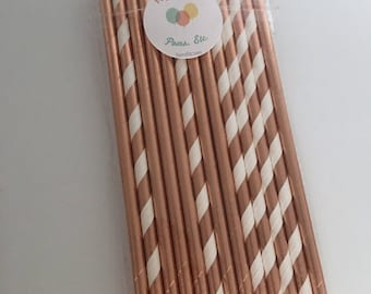 Rose gold paper straw  mix / Paper Straws/ Party Straws / party supplies/ rose gold