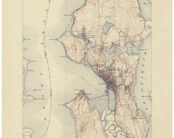 Seattle 1903 Reprint of 1894 Old Topographical Map  USGS  - Puget Sound Washington