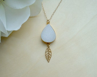 Gold Leaf Necklace with White Druzy, One of a Kind, Druzy Necklace, Gold Feather, Gift for Her, Druzy Pendant