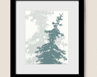 Pine Tree Art Print 8 x 10, Blue Home Decor, Living Room Wall Art , Nature Decor Silhouette Art (64)