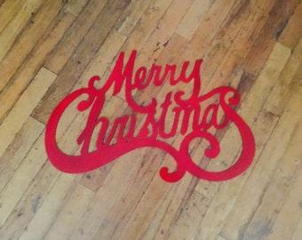 """Metal Merry Christmas Sign 24"""" x 15.5"""""""