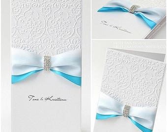 custom wedding invitation with luxury crystal buckle and two colour ribbons