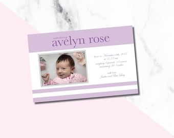 Baby Girl Birth Announcements/ purple announcement