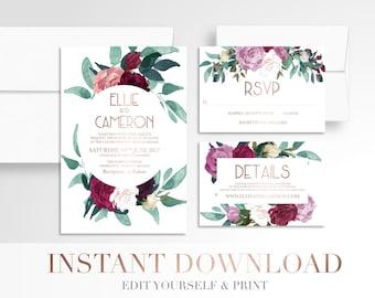 Printable Floral Wedding Invitation // Modern Geometric // Wedding Invitation Suite // Digital // Circle // White // Templett