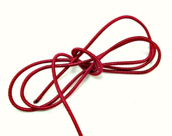 Wrapped silk cord, satin cord, deep red, 2 meters