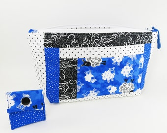 """Knitting Project Bag - NEW!  """"Baa Baa Blue Sheep Pieced"""" Zippered Large Notions Wedge Bag;  PERFECT for a Swap Package! (V)"""