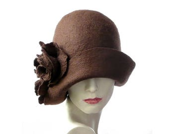 Felted  Hat felt hat Cloche Hat Flapper 1920 Hat Art Brown Hat Cloche Victorian 1920's  Wool Women's hat felted hats cliche felt hat