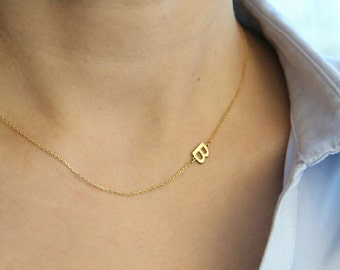 14k Solid Gold-Sideways Initial Necklace- Personalized Necklace - Personalized Bridesmaids Gifts -  Letter Necklace Mother's Day Gift